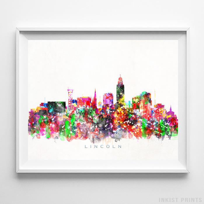 Lincoln, Oregon Skyline Watercolor Print-Poster-Wall_Art-Home_Decor-Inkist_Prints