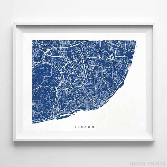 Lisbon, Portugal Street Map Horizontal Print-Poster-Wall_Art-Home_Decor-Inkist_Prints