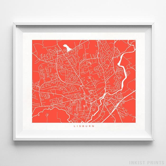 Lisburn, Northern Ireland Street Map Horizontal Print-Poster-Wall_Art-Home_Decor-Inkist_Prints