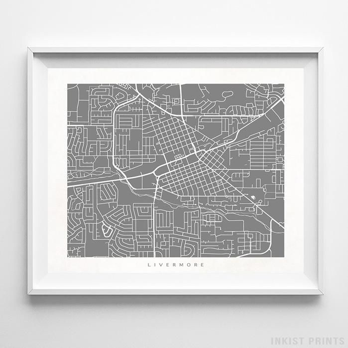 Livermore, California Street Map Horizontal Print-Poster-Wall_Art-Home_Decor-Inkist_Prints