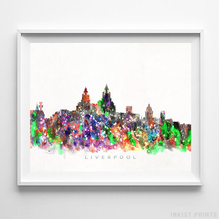 Liverpool, England Skyline Watercolor Print - Inkist Prints