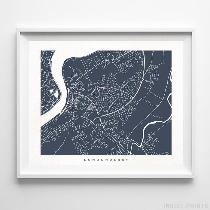 Londonderry, Ireland Street Map Horizontal Print-Poster-Wall_Art-Home_Decor-Inkist_Prints
