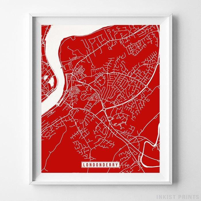Street Map Of Ireland.Londonderry Northern Ireland Street Map Vertical Print