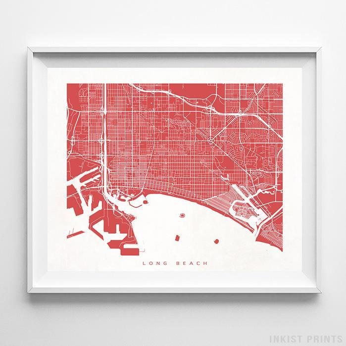 Long Beach, California Street Map Horizontal Print-Poster-Wall_Art-Home_Decor-Inkist_Prints