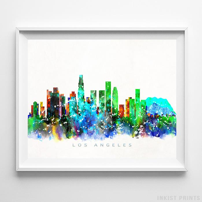 Los Angeles, California Skyline Watercolor Print-Poster-Wall_Art-Home_Decor-Inkist_Prints