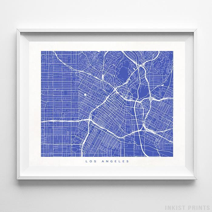 Los Angeles, California Street Map Horizontal Print-Poster-Wall_Art-Home_Decor-Inkist_Prints