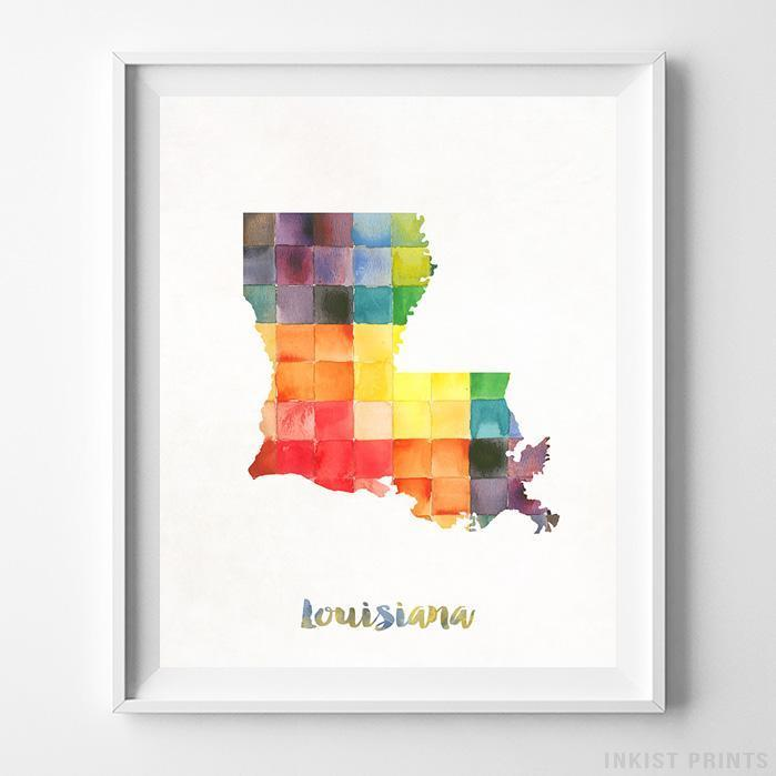 Louisiana Watercolor Map Print Wall Art Poster by Inkist Prints