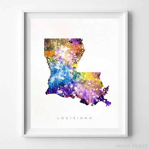 Louisiana Watercolor Map Print-Poster-Wall_Art-Home_Decor-Inkist_Prints