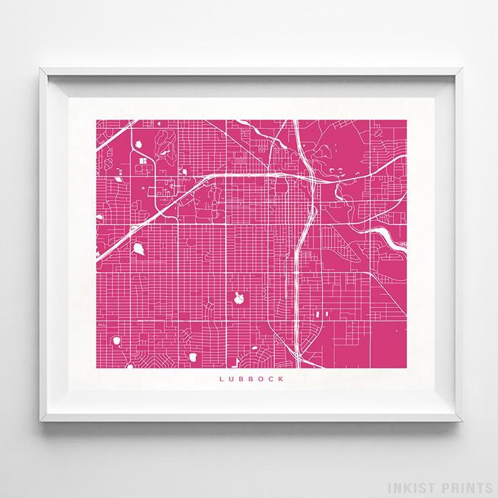 Lubbock, Texas Street Map Horizontal Print-Poster-Wall_Art-Home_Decor-Inkist_Prints