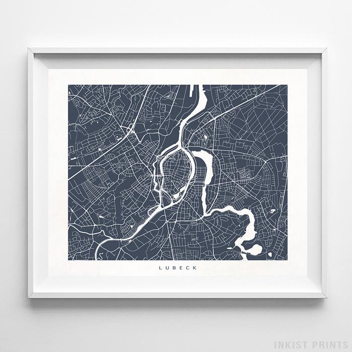 Lubeck, Germany Street Map Horizontal Print-Poster-Wall_Art-Home_Decor-Inkist_Prints