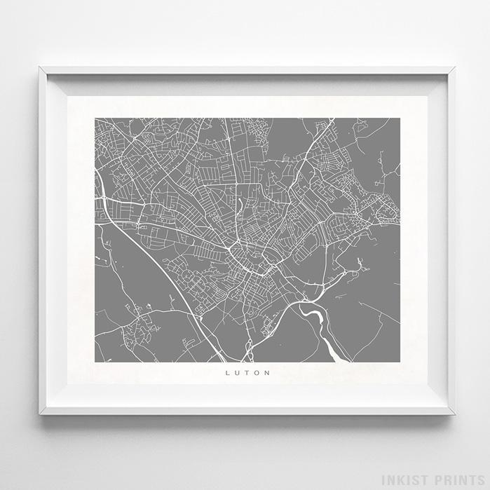 Luton, England Street Map Horizontal Print-Poster-Wall_Art-Home_Decor-Inkist_Prints