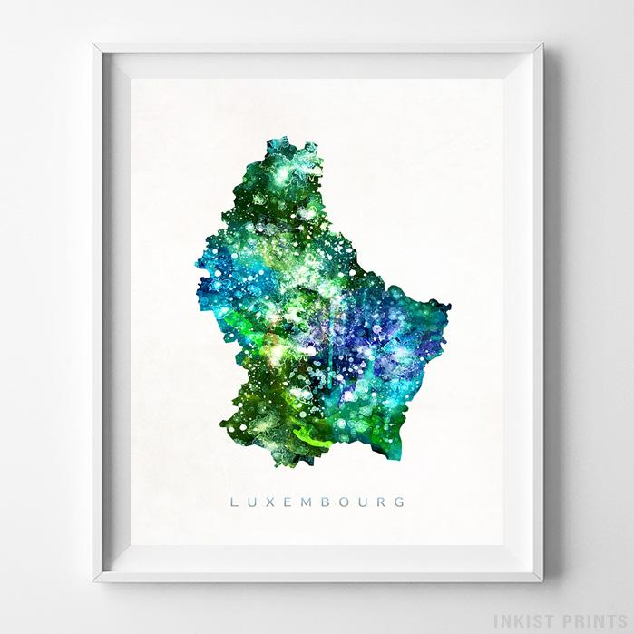 Luxembourg Watercolor Map Print - Inkist Prints