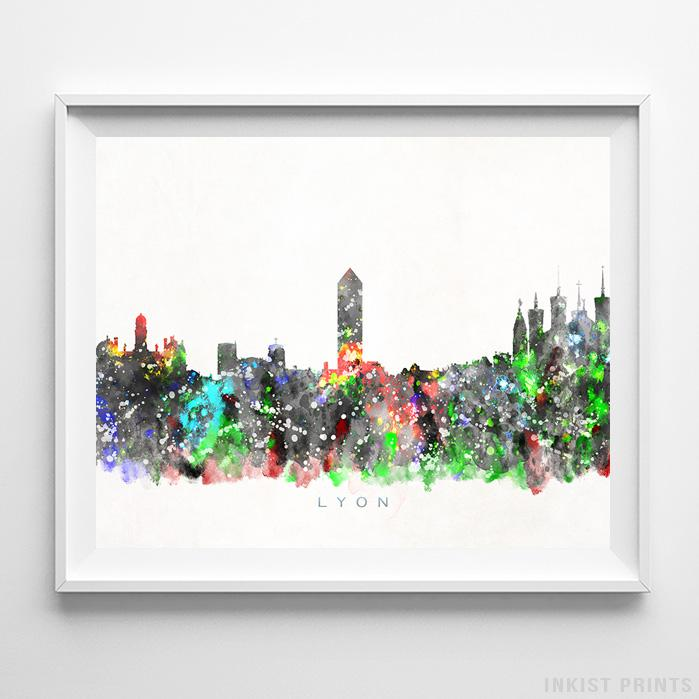 Lyon, France Skyline Watercolor Print - Inkist Prints