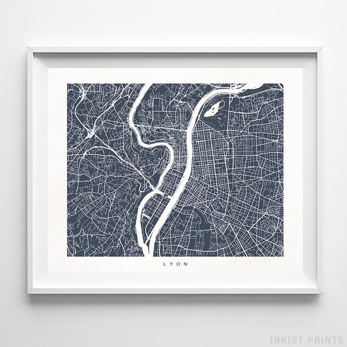 Lyon, France Street Map Print - Inkist Prints