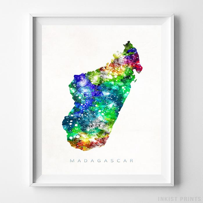 Madagascar Watercolor Map Print Wall Art Poster by Inkist Prints
