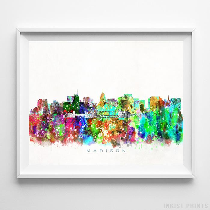 Madison, Wisconsin Skyline Watercolor Print Wall Art Poster by Inkist Prints