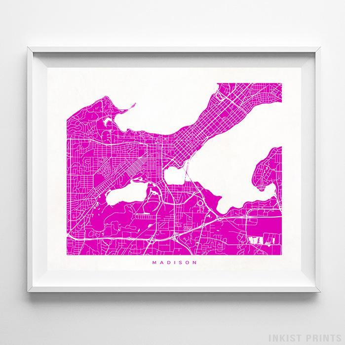 Madison, Wisconsin Street Map Horizontal Print-Poster-Wall_Art-Home_Decor-Inkist_Prints