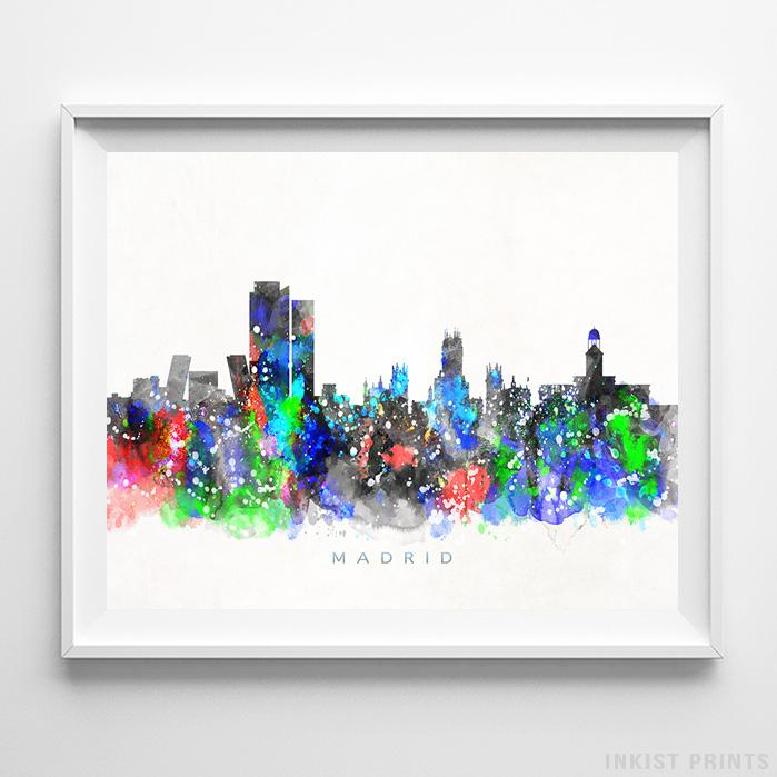 Madrid, Spain Skyline Watercolor Print - Inkist Prints