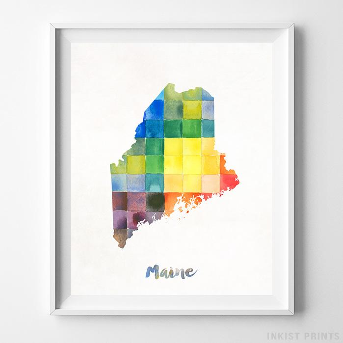 Maine Watercolor Map Print - Inkist Prints