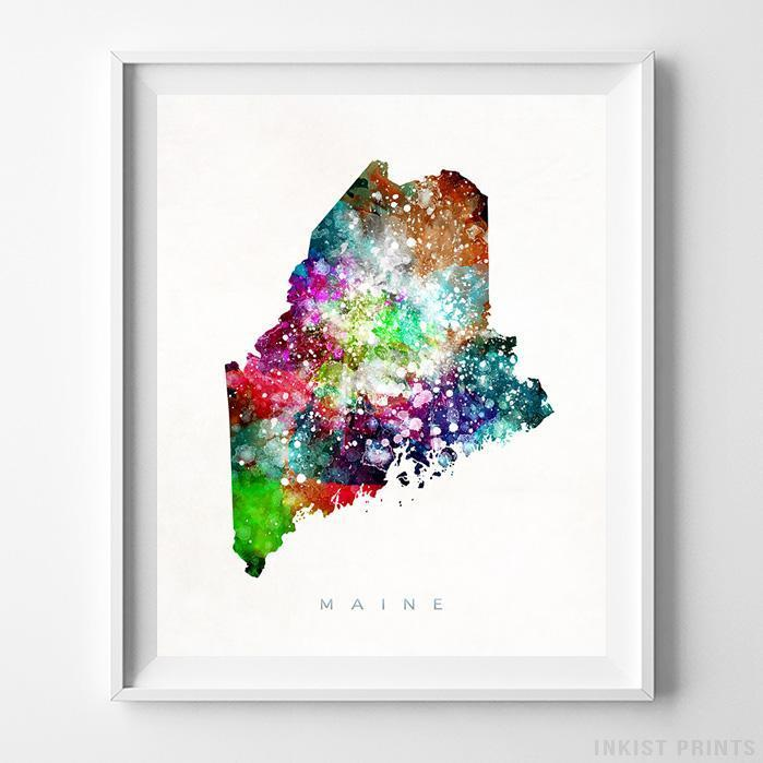 Maine Watercolor Map Print Wall Art Poster by Inkist Prints