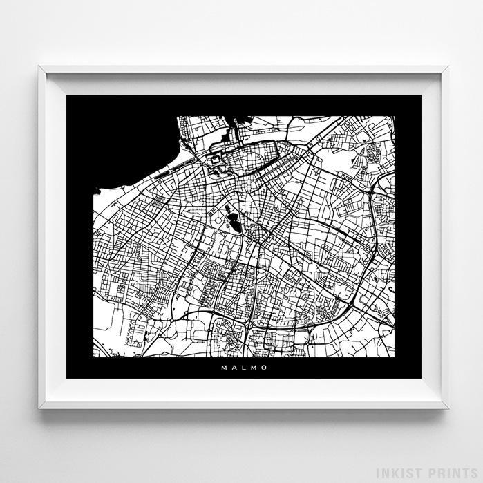 Malmo, Sweden Street Map Horizontal Print-Poster-Wall_Art-Home_Decor-Inkist_Prints