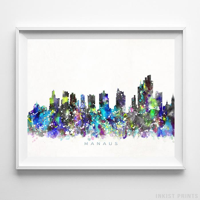 Manaus, Brazil Skyline Watercolor Print-Poster-Wall_Art-Home_Decor-Inkist_Prints