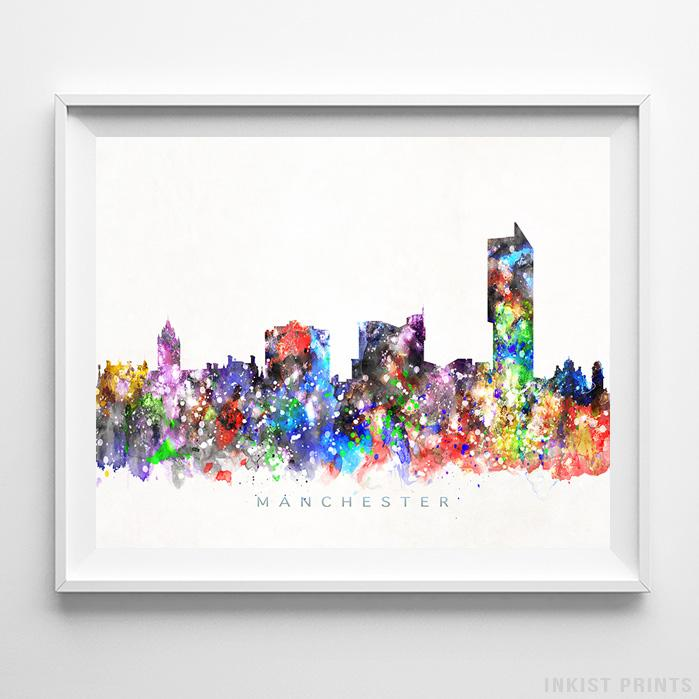 Manchester, England Skyline Watercolor Print-Poster-Wall_Art-Home_Decor-Inkist_Prints