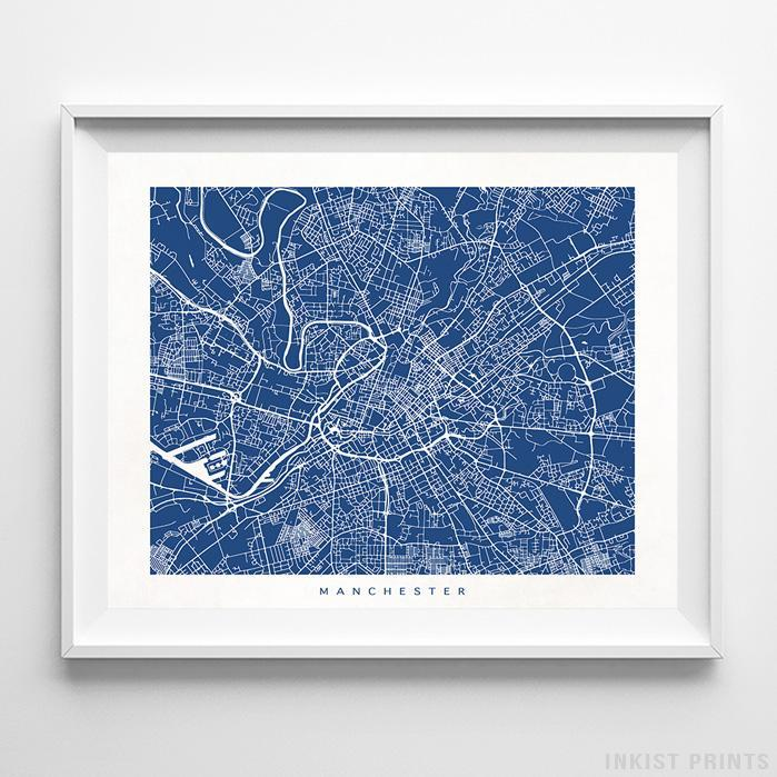Manchester, England Street Map Horizontal Print-Poster-Wall_Art-Home_Decor-Inkist_Prints