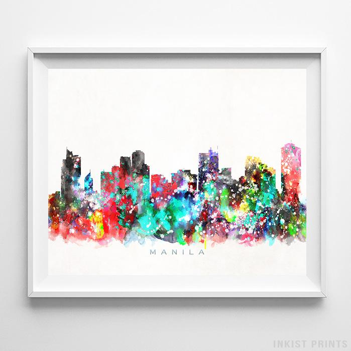 Manila, Philippines Skyline Watercolor Print-Poster-Wall_Art-Home_Decor-Inkist_Prints