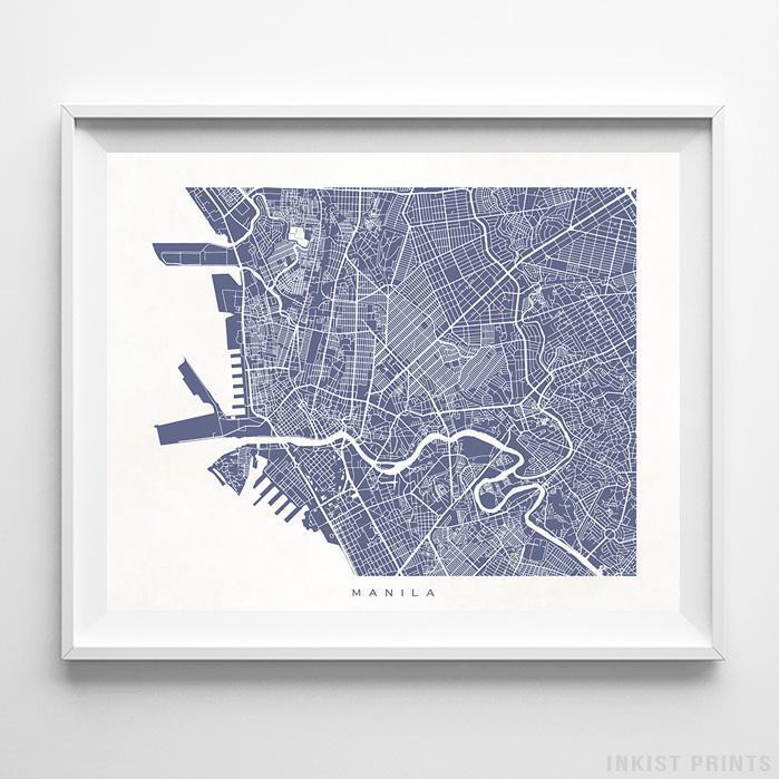 Manila, Philippines Street Map Horizontal Print-Poster-Wall_Art-Home_Decor-Inkist_Prints