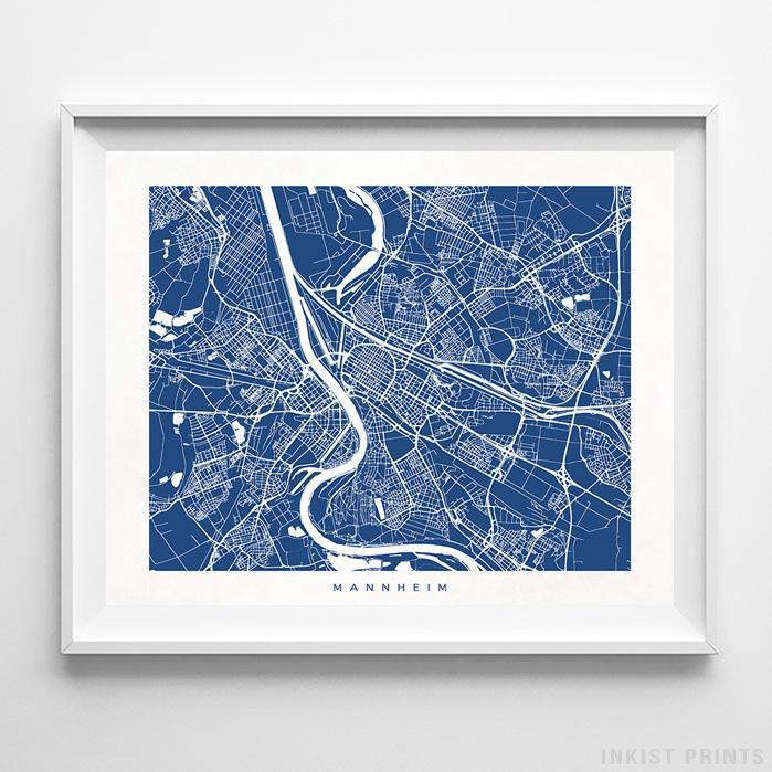 Mannheim, Germany Street Map Horizontal Print-Poster-Wall_Art-Home_Decor-Inkist_Prints