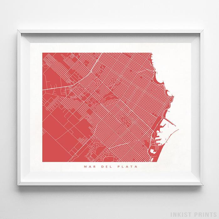 Mar del Plata, Argentina Street Map Horizontal Print-Poster-Wall_Art-Home_Decor-Inkist_Prints