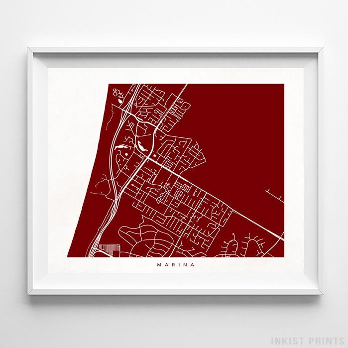 Marina, California Street Map Horizontal Print-Poster-Wall_Art-Home_Decor-Inkist_Prints
