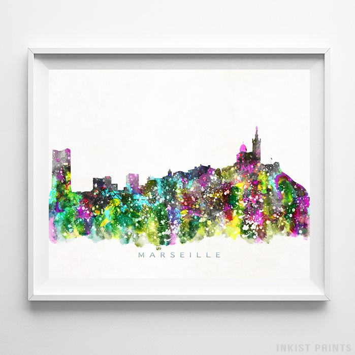 Marseille, France Skyline Watercolor Print-Poster-Wall_Art-Home_Decor-Inkist_Prints