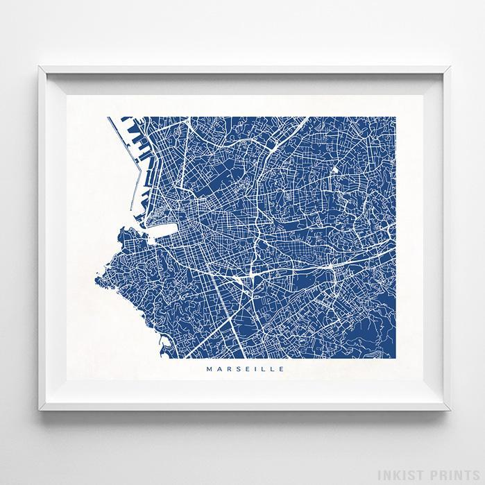 Marseille, France Street Map Horizontal Print-Poster-Wall_Art-Home_Decor-Inkist_Prints