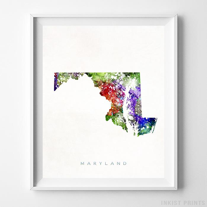 Maryland Watercolor Map Print-Poster-Wall_Art-Home_Decor-Inkist_Prints