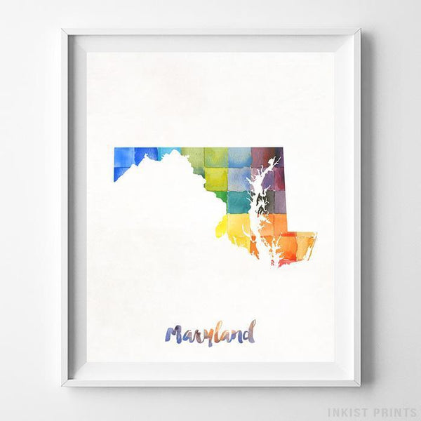 Maryland Watercolor Map Print - Inkist Prints