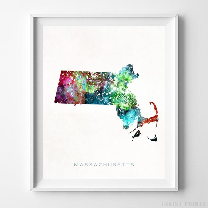 Massachusetts Watercolor Map Print - Inkist Prints