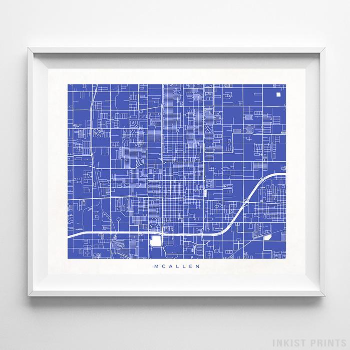 McAllen, Texas Street Map Horizontal Print-Poster-Wall_Art-Home_Decor-Inkist_Prints