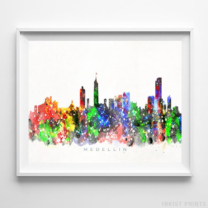 Details About Medellin Colombia Watercolor Skyline Wall Art Home Decor Poster UNFRAMED