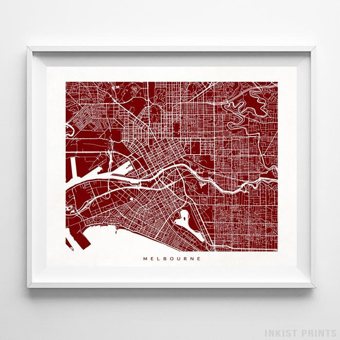 Melbourne, Australia Street Map Horizontal Print-Poster-Wall_Art-Home_Decor-Inkist_Prints