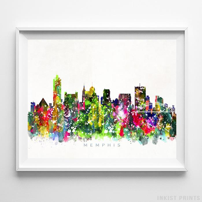 Memphis, Tennessee Skyline Watercolor Print-Poster-Wall_Art-Home_Decor-Inkist_Prints