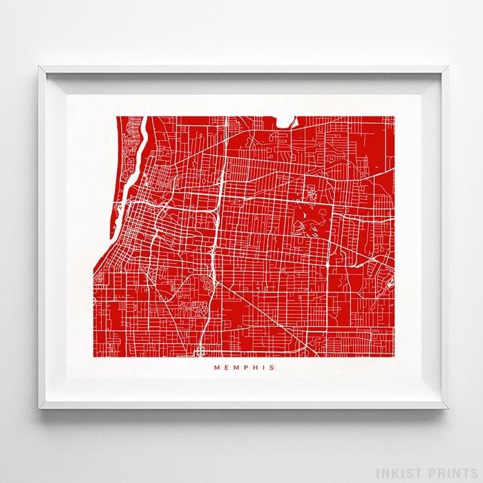 Memphis, Tennessee Street Map Horizontal Print-Poster-Wall_Art-Home_Decor-Inkist_Prints