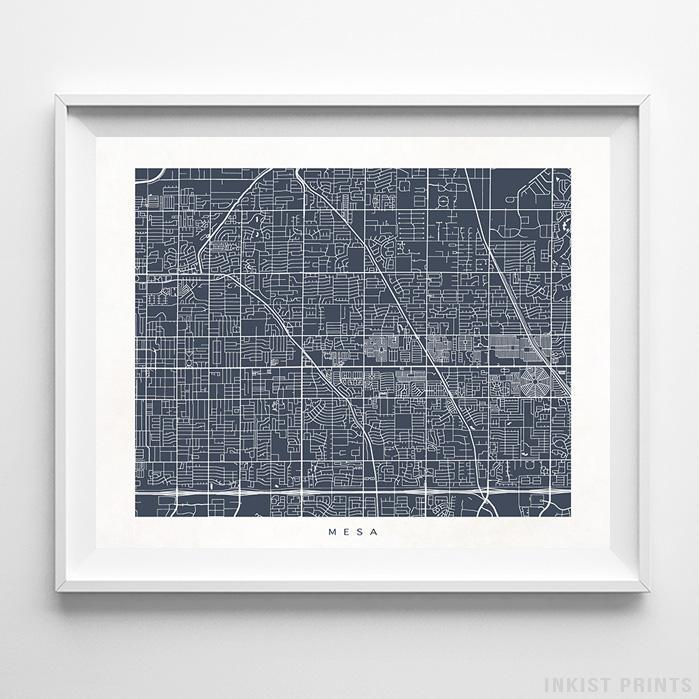 Mesa, Arizona Street Map Horizontal Print-Poster-Wall_Art-Home_Decor-Inkist_Prints