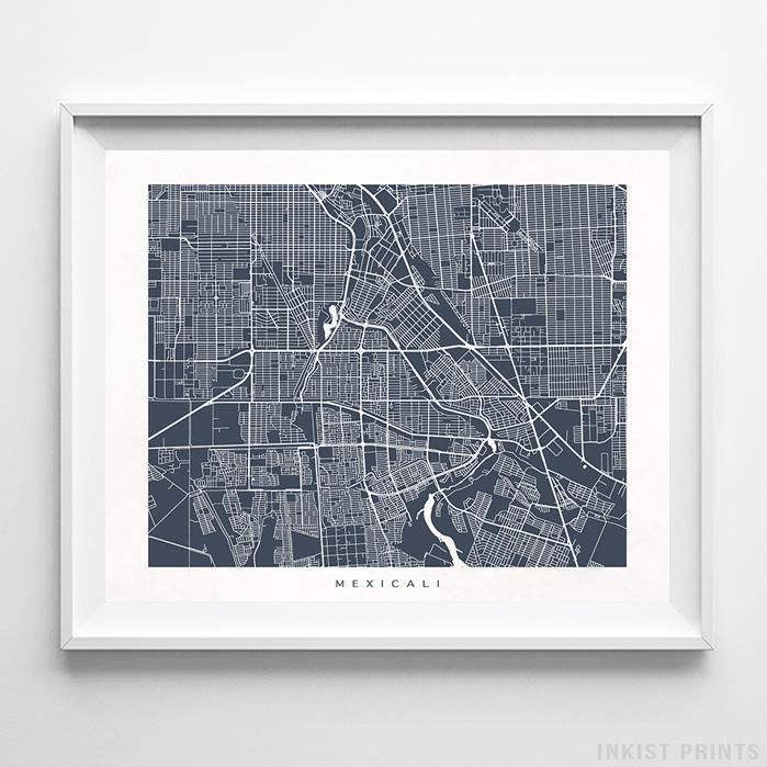 Mexicali, Baja California Street Map Horizontal Print-Poster-Wall_Art-Home_Decor-Inkist_Prints