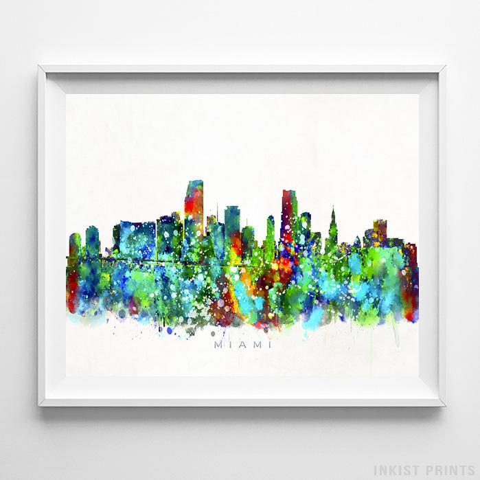 Miami, Florida Skyline Watercolor Print-Poster-Wall_Art-Home_Decor-Inkist_Prints