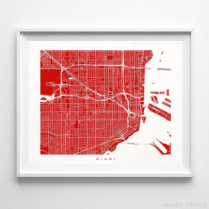 Miami, Florida Street Map Print - Inkist Prints
