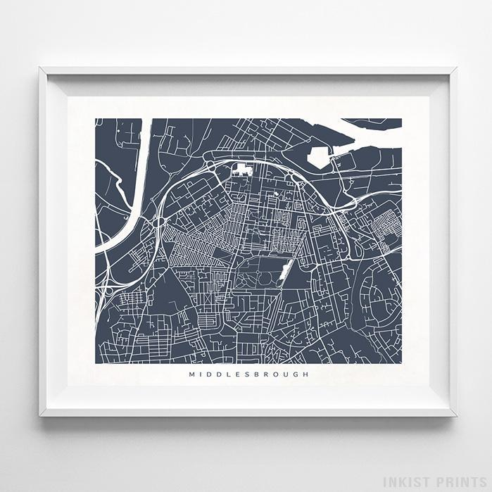 Middlesbrough, England Street Map Horizontal Print-Poster-Wall_Art-Home_Decor-Inkist_Prints