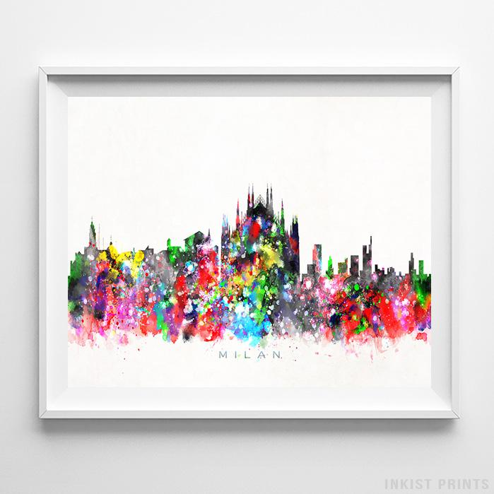 Milan, Italy Skyline Watercolor Print - Inkist Prints
