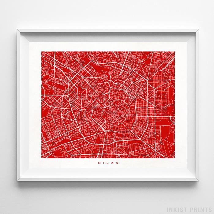 Milan, Italy Street Map Horizontal Print-Poster-Wall_Art-Home_Decor-Inkist_Prints